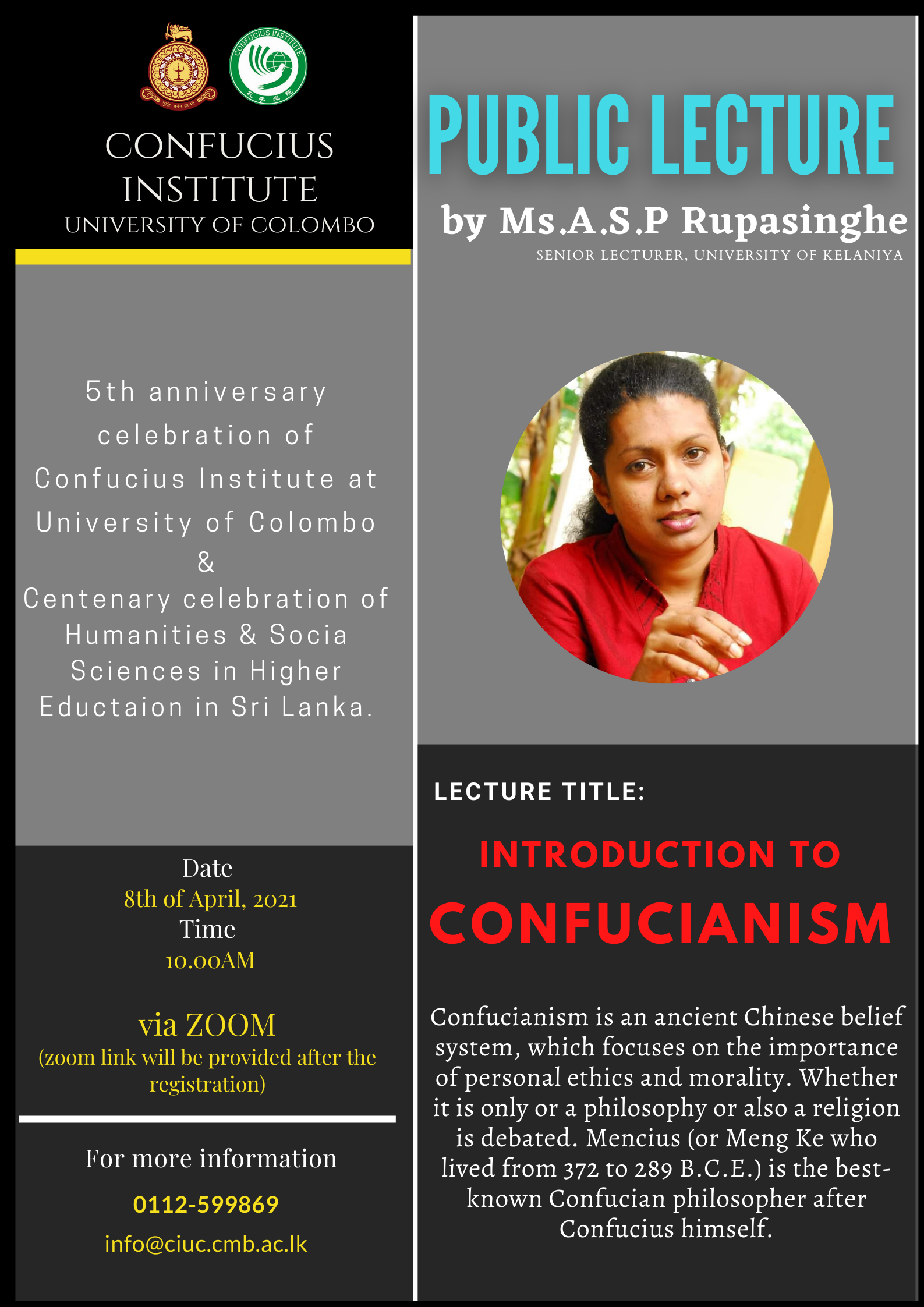 """The First Lecture of Public Lecture Series – """"INTRODUCTION TO CONFUCIANISM"""" – 08th April"""